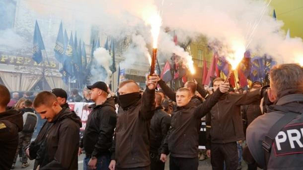 Вернем Украину украинцам. Плакаты и кричалки на марше националистов